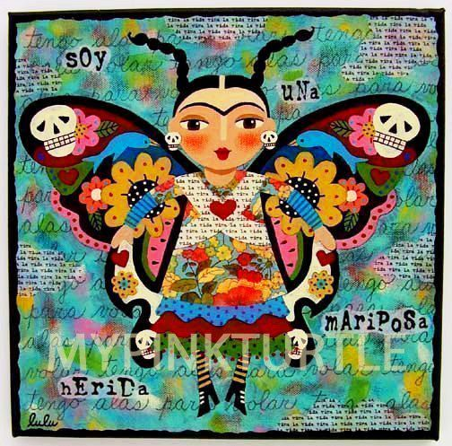 FRIDA Kahlo Day Of The Dead BUTTERFLY 8 X Print Dia De