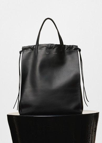 Vertical Coulisse Shoulder Bag in Black and Burgundy Smooth Calfskin - Céline