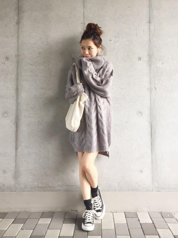 Ungridのニット/セーターを使ったyurieさんのコーディネートです。│このニットワンピ可愛い♡!コンバース&...