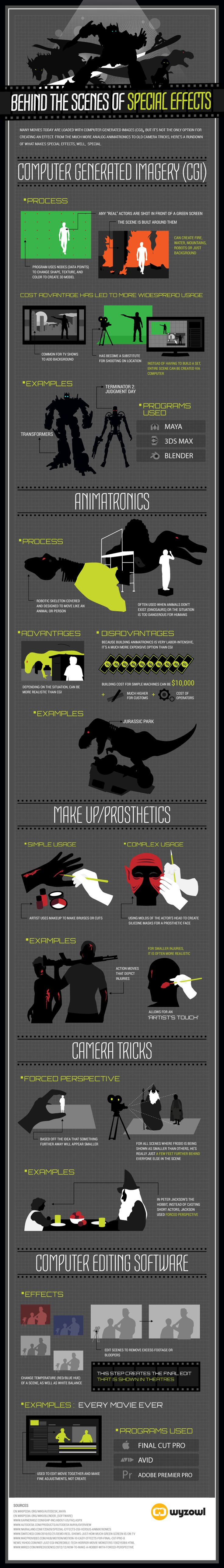 In the following infographic, we're shedding light on a few different types of special effects used by movie directors and producers today.