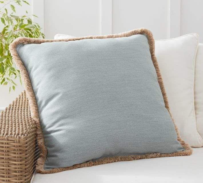 Sunbrella Solid Fringe Indoor Outdoor Pillows Indoor Outdoor Pillows Sunbrella Fabric Outdoor Outdoor Pillows