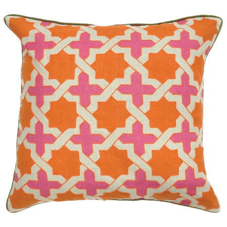 Anika Pillow.: Orange Pillows, Anika Pillows, Window Sheer, Bedrooms Facelift, Fabrics Patterns, Bedrooms Events, Bedrooms Ideas, Preppy Pink, Beautiful Bedrooms