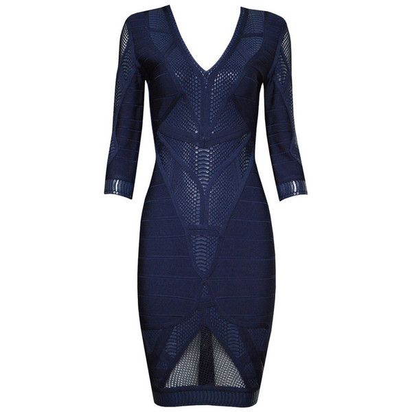 Posh Girl Navy Blue V-Front Bandage Dress ($178) ❤ liked on Polyvore featuring dresses, vestido, multi, zipper back dress, posh girl, navy dress, blue dress and navy blue dress