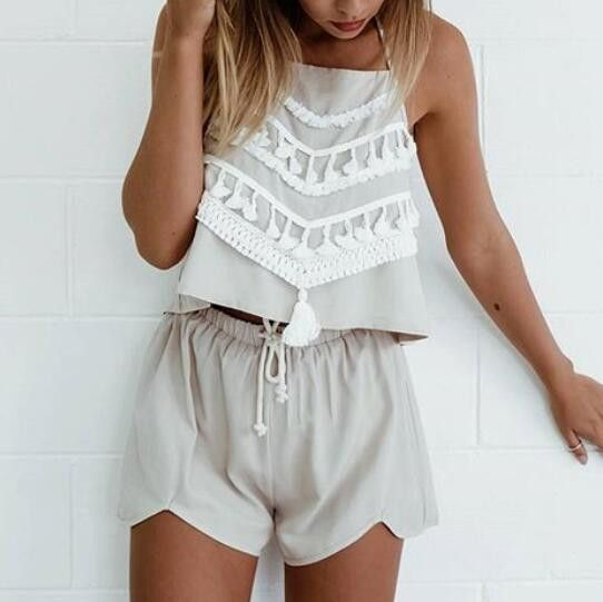 Fashion Lace Strappy Halter Two-Piece