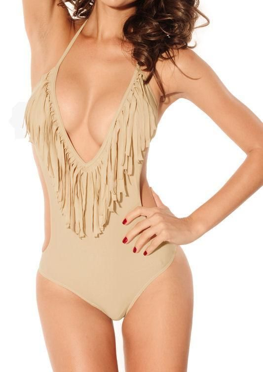 Sexy Beige Exotic Brazilian Monokini Deep V-Neck Fringed Fashion Swimsuit NEW #other #Monokini