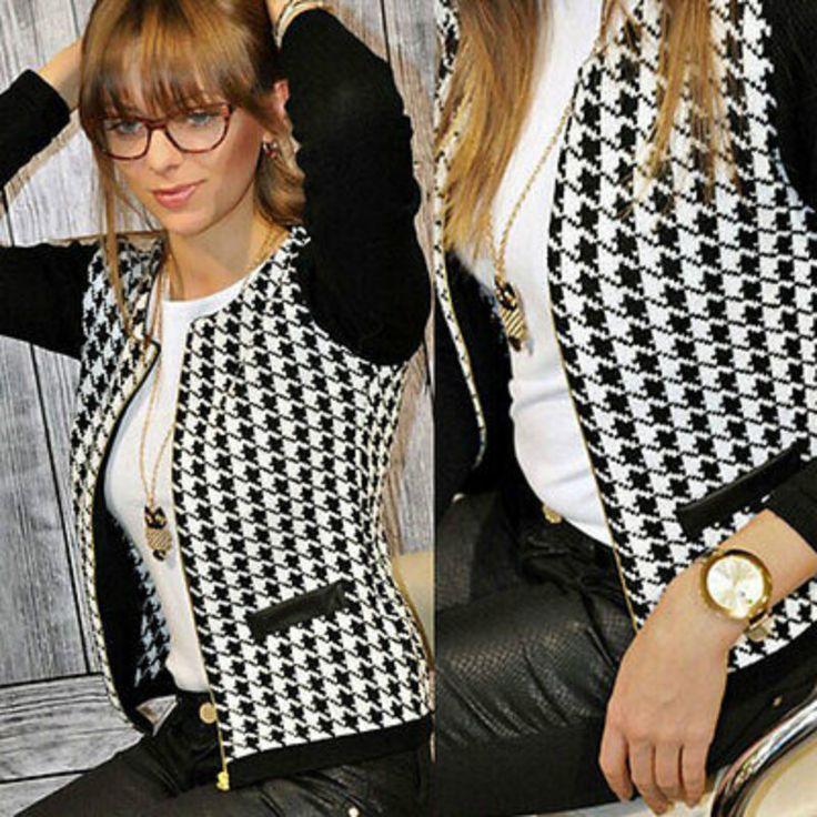 New Fashion Women's Long Sleeve Casual Plaid Blazer Suit Zipper Coat Outwear
