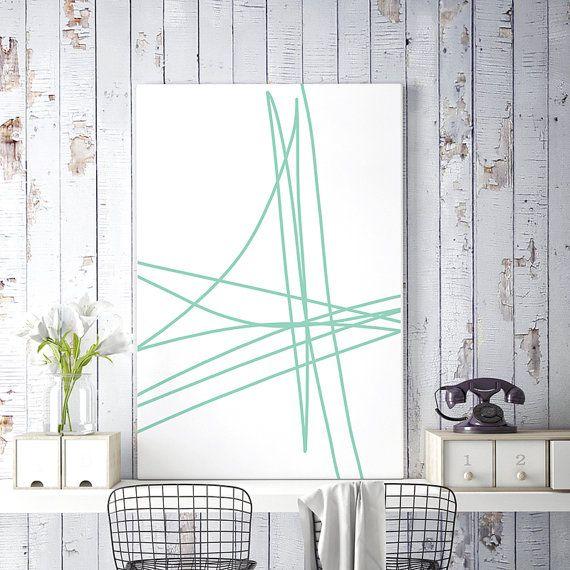 Mint Green Print Abstract Line Art Minimalist Print Line