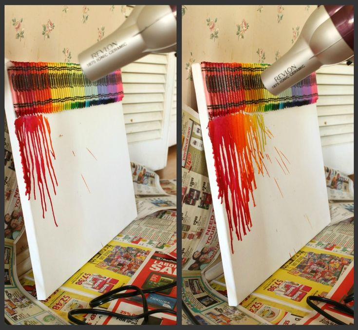 Melted Crayon Art Tutorial [This was a HUGE hit! I was doubtful that a hair dryer would be hot enough, but we saw action pretty quickly. Now, I want to do one!]