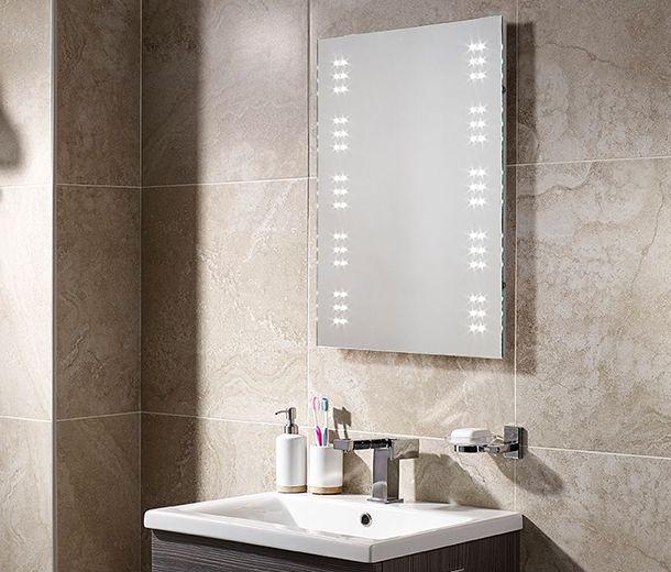 500x700mm Leto Battery Led Illuminated Bathroom Mirror Bathroom Mirror Mirror Lighted Bathroom Mirror