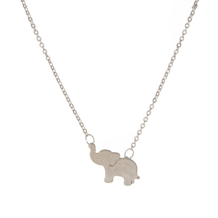 """Dainty silver tone necklace with an elephant pendant. Approximately 16"""" in length. Very tiny."""