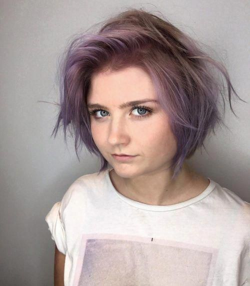 Tousled purple bob for straight hair #choppybobhai…