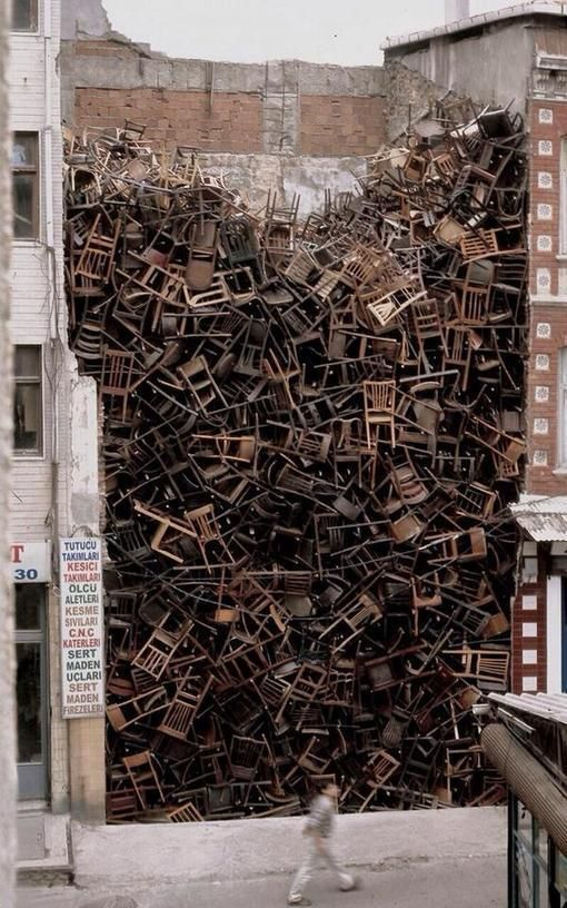 Salcedo, Street Art Chair sculpture, Istanbul Turkey http://streetiam1.com/salcedo-street-art-chair-sculpture-istanbul-turkey/