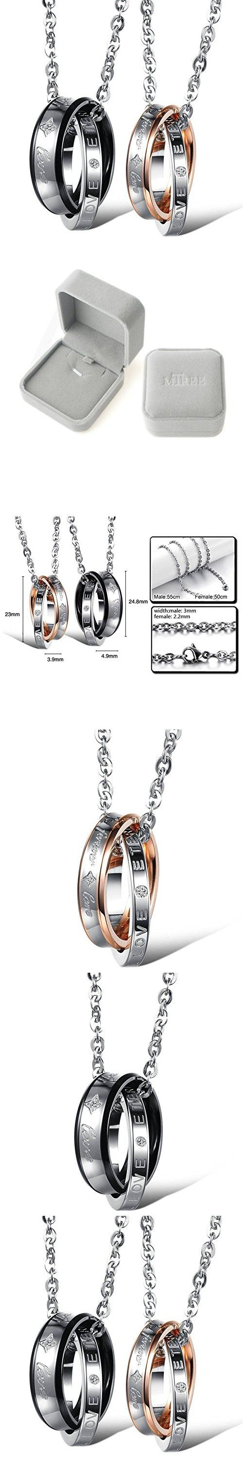 M-Tree His and Hers Couples Necklaces - Titanium Stainless Steel Fashion Matching Relationship Necklace Color Couple