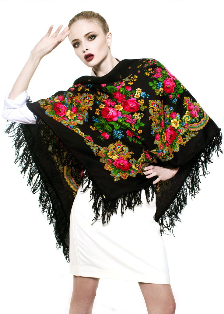 Fringed Russian scarf with floral pattern - GALINA by A LA RUSSE