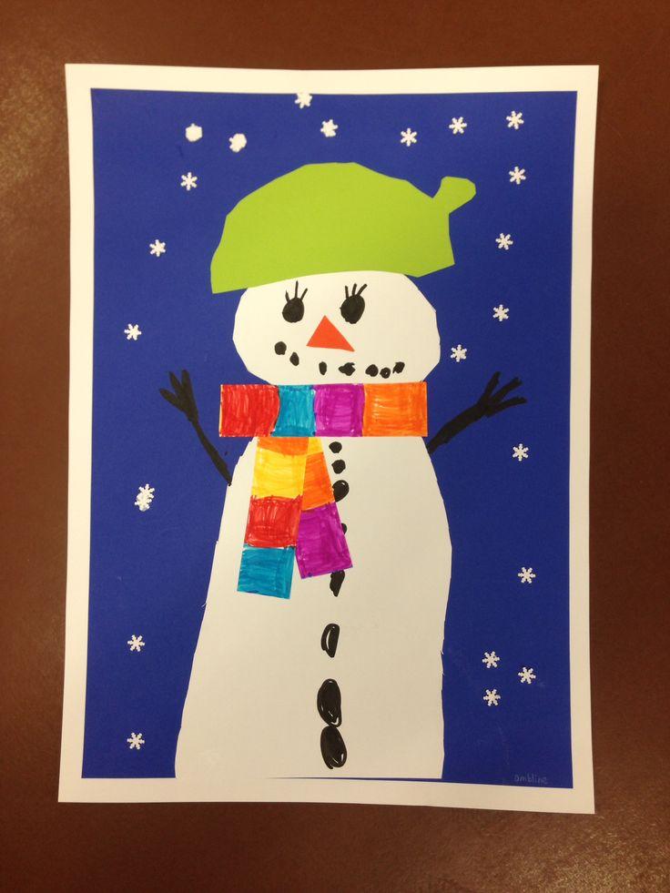 Bonhomme de neige en d coupage avec charpe color e aux - Pinterest bonhomme de neige ...