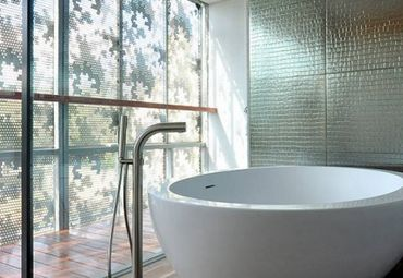 Metal Wall Coverings Metal wall coverings are modern, hygienic and sustainable which makes them perfect for the bathroom. Dark, neutral colours will give your bathroom a nice deep textured look.