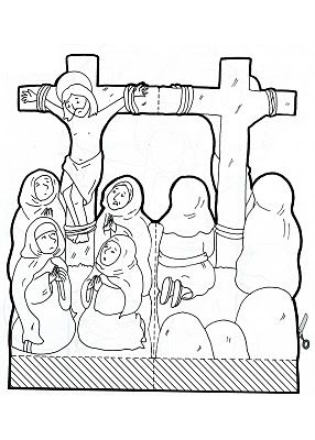double sided crucifixion scene coloring page