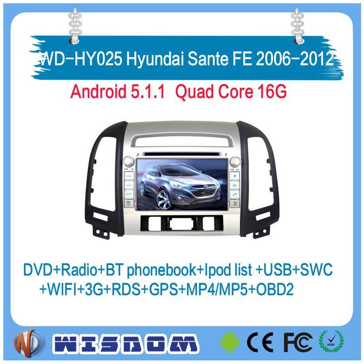 Top quality navigation system for HYUNDAI SANTA FE 2006 2007 2008 2009 2010 2011 2012 car radio android 2 din three holes swc ce