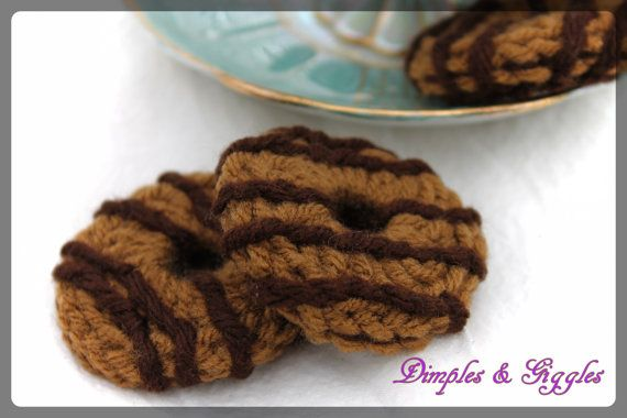 Crochet Pretend Chocolate Striped Fudge Round Cookies- Girl Scout Samoas- 3 cookies