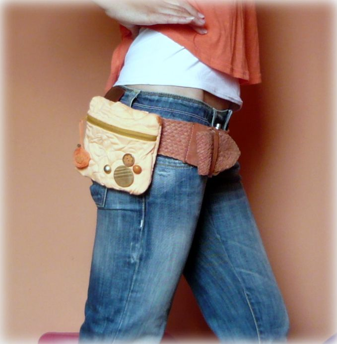 Handmade by Judy Majoros - Beaded fanny pack- purse. Recycled purse.