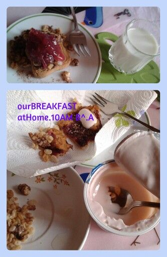 Our breakfast. 10AM. Collage best pic of A cup of coffee and #coffee#cup #milk#lait #latte#cereals Homemade crumble!  ¡: #banana#redfruits#cacao#whiskey#cream #idea #mummysday festa della mamma #2014#mousse #biscuits#coffee tot.100kj  #mybreakfast #sunday…