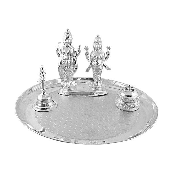 Jpearls Traditional Silver Thali With Silver Bell, Silver Laxmi-Narayan Idol and Kum Kum Dabi