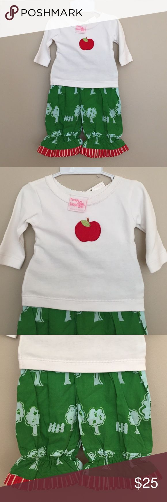 Frumpy Rumps Outfit Perfect for back to school or apple picking season. Apple appliqué top and green ruffle ankle bottoms. Frumpy Rumps Matching Sets
