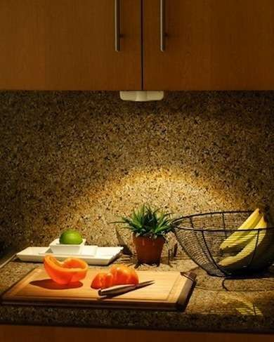 Under-cabinet lighting makes kitchen tasks safer. There are several options that don't require wiring. Motion-Sensor LED Battery-powered LEDs from Pegasus Lighting automatically flick on when motion is detected within five feet. An affordable option for renters, these fixtures can be installed with tape for a temporary under-cabinet lighting solution.