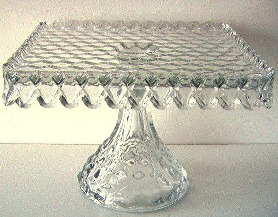 Vintage FOSTORIA AMERICAN Crystal Clear Pedestal Cake Plate Salver $245.00