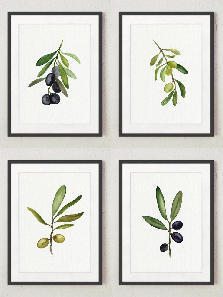 Black Olive Fine Art Print Set of 4 @Etsy #olive #olives #watercolor #set4 #kitchenprint #kitchenart #olivetree