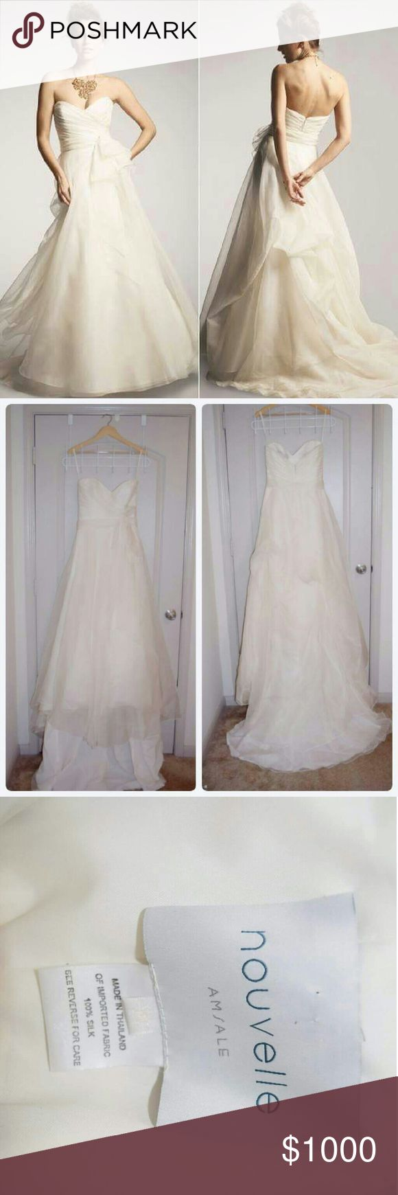 Amsale Wedding Dress Nouvelle Amsale Wedding gown Color: Ivory Size 10 (bride is normally a 2 or 4) Currently selling at Nordstrom for full price $1800 Bride specs: weight 118, height 5'1'', wore 4 inch heels, bust 34C There is a bustle for the train so need to get a reception dress. Dry cleaned the day after the wedding. Amsale Dresses Wedding