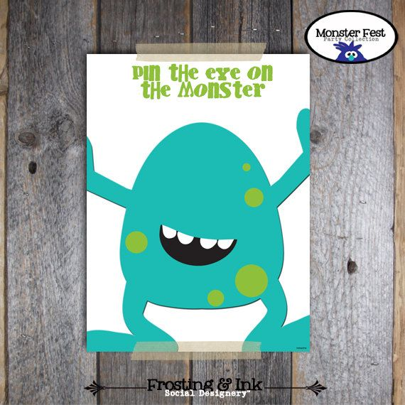 can order printable, or try and draw myself..hhmmm..Monster Birthday Party - Pin The Eye On The Monster Game - Printable. $15.00, via Etsy.