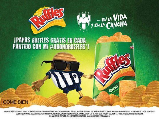 Recuerden que en los partidos de #Rayados en la LIGA Bancomer MX pueden pedir sus papas Ruffles MX llevando su #AbonoRuffles.