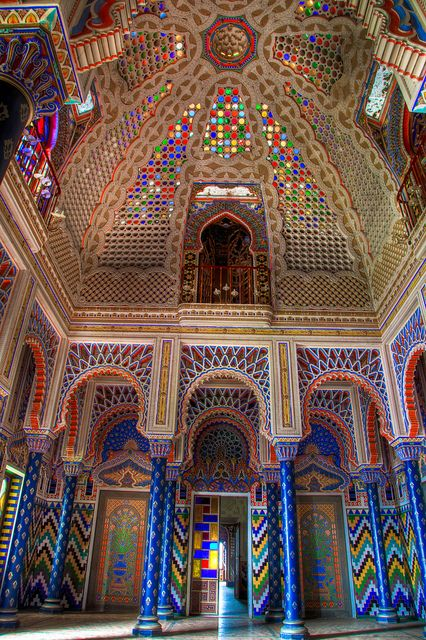 Sammezzano castle, Florence, Italy South of Florence there is this AMAZING castle. 365 rooms... all different from one another. Sadly.. you can't view them without filling out a form on their website and attending RARE openings for viewing. Holy Tuscany wishlist.