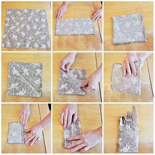 Pliage de serviette pochette élégante pour y mettre les couverts