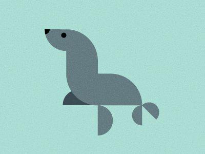 Cut paper, geometric, logo, Sea Lion
