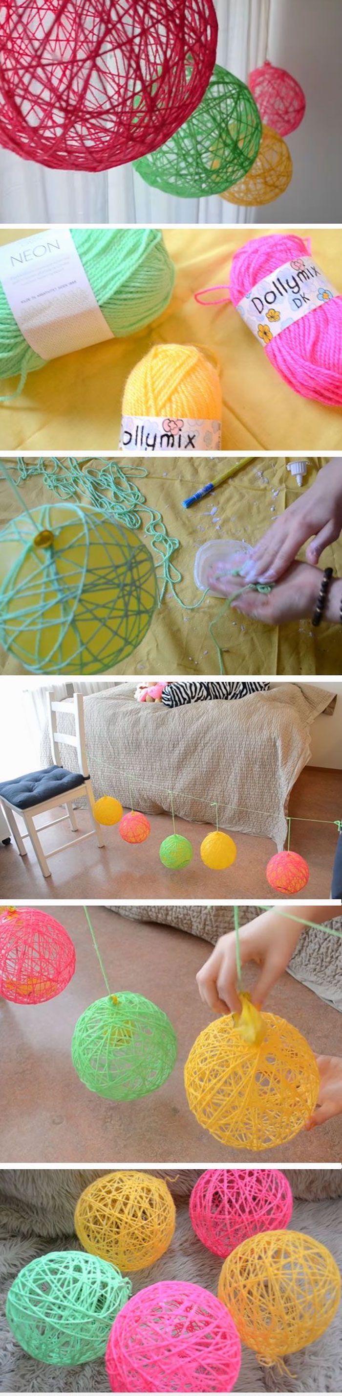 DIY Deko Idee, bunte Kugeln aus Garn oder Wolle basteln, Zimmer dekorieren