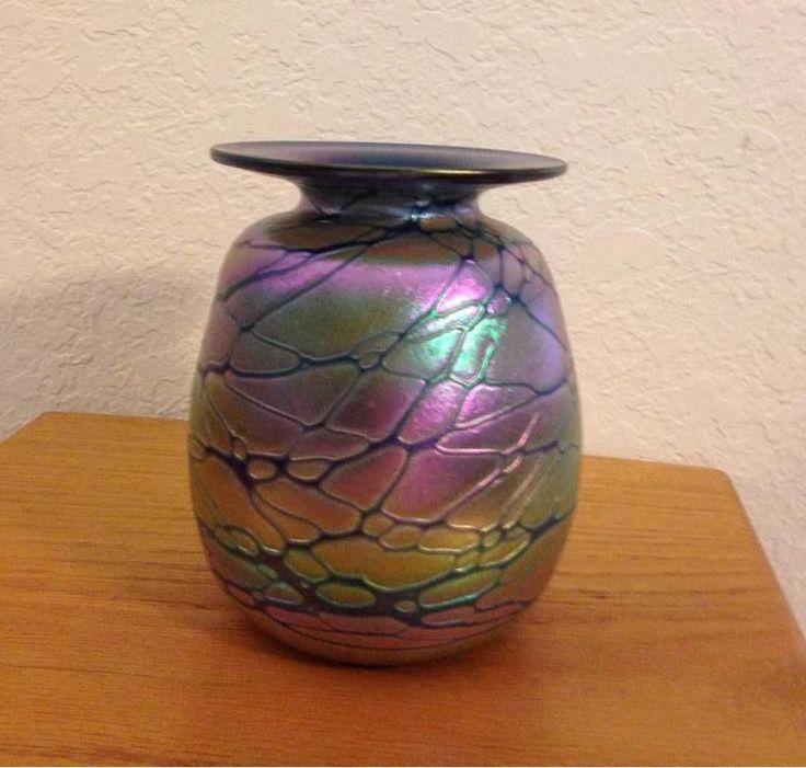 Rick Hunter Hand Blown Art Glass Cobalt Mini Vase With Copper Iridescent Shapes