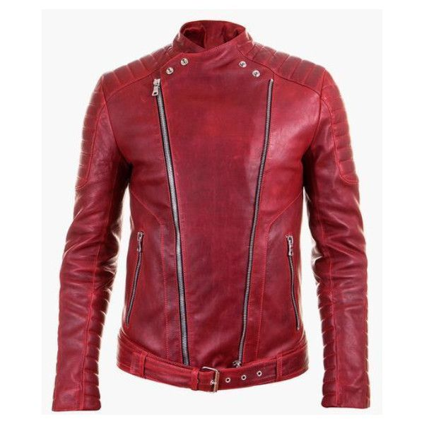 Balmain Red Quilted Leather Biker Jacket (11.485 RON) ❤ liked on Polyvore featuring men's fashion, men's clothing, men's outerwear, men's jackets and red