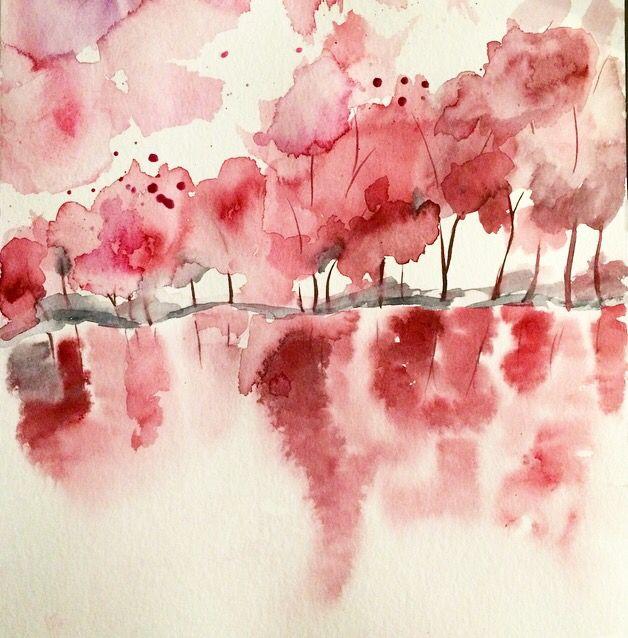 Copied a landscape  Watercolor Pink