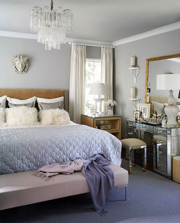 cool gray and warm camelgold bedroom