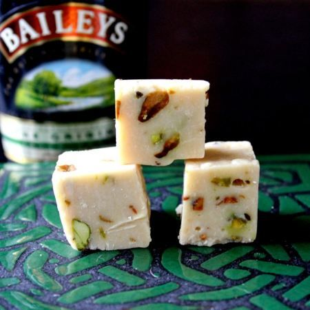 Bailey's Irish Cream & Pistachio Fudge  By: recipe from Butteryum  Via: leahandjay.wordpress.com    yield: One 9×9 pan. Number of pieces depends on how you slice it     Ingredients:    36 ounces white chocolate chips  1 (14-ounce) can sweetened condensed milk  6 tablespoons Bailey's Irish Cream