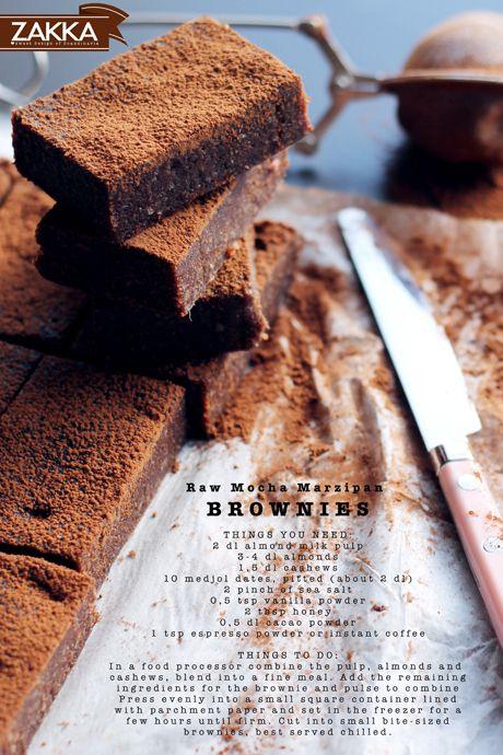 Raw Mocha Marzipan Brownies