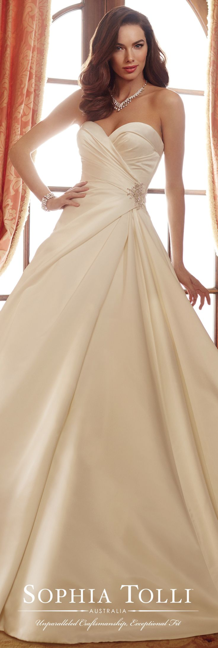 Sophia Tolli Spring 2017 Wedding Gown Collection - Style No. Y11721 Desiree - strapless satin full A-line wedding dress with asymmetrically side draped bodice