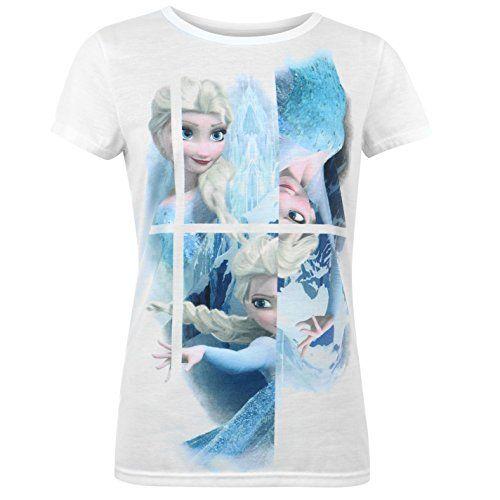 Disney Frozen-Camiseta de manga corta para mujer blanco y azul CHARACTER de manga corta T Shirt #camiseta #realidadaumentada #ideas #regalo