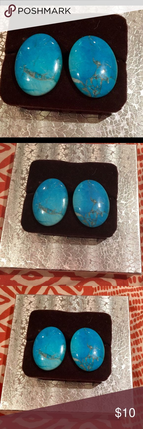 Vintage Aqua Blue Oval Earrings*Must See+* Stunning aqua blue Ceramic earrings measuring just over 1 inches long. These were my grandmothers so they are definitely vintage. Jewelry Earrings