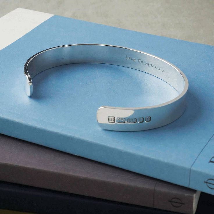 personalised men's solid silver bracelet by hersey silversmiths | notonthehighstreet.com