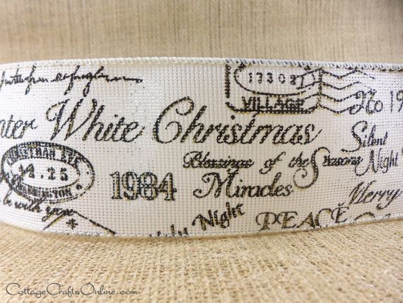 A variety of Christmas greetings printed in black script with gold highlights on a linen poly burlap style ribbon with an airy weave and a wired edge from high end boutique ribbon producer d. stevens. The design gives an old world and vintage feel with an up-to-date color scheme. From the Cottage Crafts Online shop on Etsy, where we help your ideas become creations.