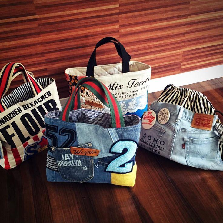 バッグあれこれパート2! #ハンドメイド#ハンドメイドバッグ#バッグ#デニムリメイク#denim#リメイク#ネスホーム#ヴィンテージ#ワッペン#男前#ステンシル#ダイソー#セリア#しまむら#ファッション#fashon#コーデ