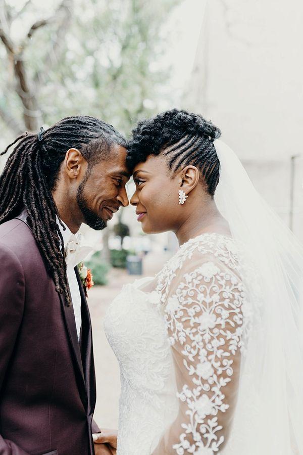 Stylish Black Bride and Groom Natural Hairstyles      #wedding #weddings #weddingideas #aislesociety #weddingeditorial #copper #metallic #modernwedding
